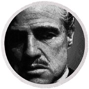 Godfather Marlon Brando Round Beach Towel by Tony Rubino