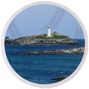 Photographs Of Cornwall Godrevy Lighthouse Round Beach Towel