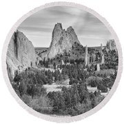 Gods Colorado Garden In Black And White    Round Beach Towel