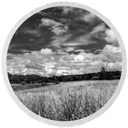 God's Country In Monochrome Round Beach Towel