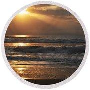 God's Rays Round Beach Towel