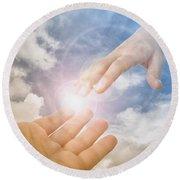 God's Saving Hand Round Beach Towel