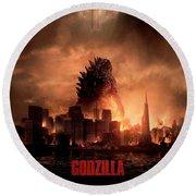 Godzilla 2014 Round Beach Towel