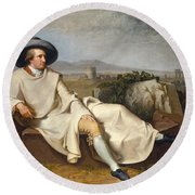 Goethe In The Roman Campagna Round Beach Towel