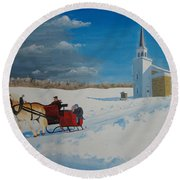 Going Home From Church Round Beach Towel