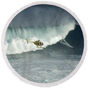 Going Left At Jaws Round Beach Towel
