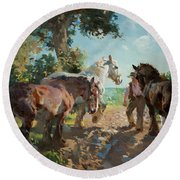 Going To Pasture Round Beach Towel