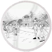 Walking To School Round Beach Towel