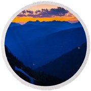 Going-to-the-sun Sunset Round Beach Towel