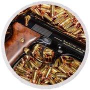 Gold 9mm Beretta With Brass Ammo Round Beach Towel