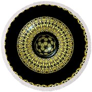 Gold And Black Stained Glass Kaleidoscope Under Glass Round Beach Towel