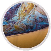 Gold And Blue Round Beach Towel