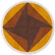 Gold And Brown Pinwheel Round Beach Towel