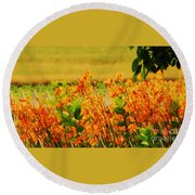 Gold And Orange Landscape Round Beach Towel