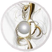 Gold And Pearl Round Beach Towel