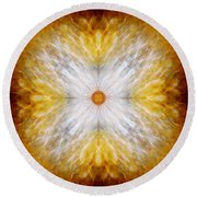 Gold And White Light Mandala Round Beach Towel