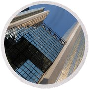 Gold Black And Blue Geometry - Royal Bank Plaza Round Beach Towel
