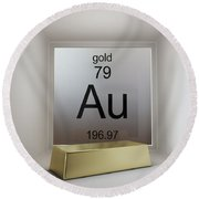 Gold Chemical Element Round Beach Towel