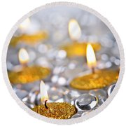 Gold Christmas Candles Round Beach Towel by Elena Elisseeva