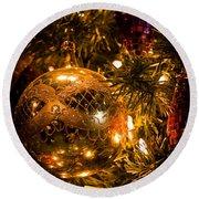Gold Christmas Ornament Round Beach Towel