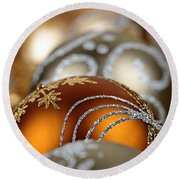 Gold Christmas Ornaments Round Beach Towel
