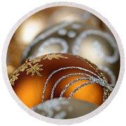 Gold Christmas Ornaments Round Beach Towel by Elena Elisseeva
