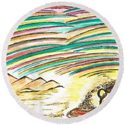 Gold Coins At The End Of  Rainbows Round Beach Towel