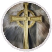 Gold Cross Round Beach Towel