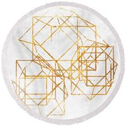Gold Cubed II Round Beach Towel