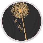 Gold Dandelion Round Beach Towel