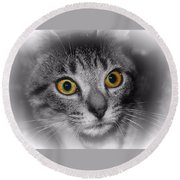 Gold Eyes Round Beach Towel