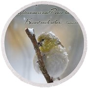 Gold Finch On A Snowy Twig With Verse Round Beach Towel