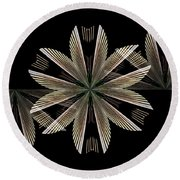 Gold Floral Abstract Round Beach Towel