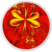 Gold Flowers Round Beach Towel