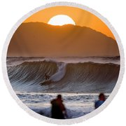 Gold Kaena Sunset Round Beach Towel