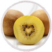Gold Kiwifruit Round Beach Towel