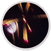Gold Leafy Firework Round Beach Towel