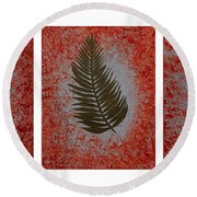Gold Leaves On Orange Triptych Round Beach Towel