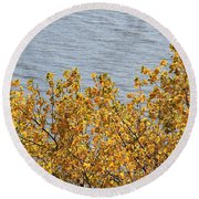 Gold Leaves Round Beach Towel