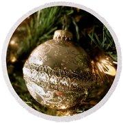 Gold Ornament Round Beach Towel