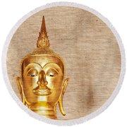 Gold Painted Buddha Statue Round Beach Towel