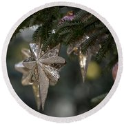 Gold Star Christmas Tree Ornament 4 Of 4 Round Beach Towel