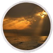 Gold Through The Clouds Round Beach Towel