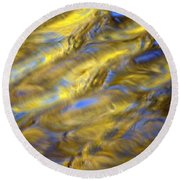Gold Waters Round Beach Towel