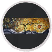 Golden Admiration By Madart Round Beach Towel