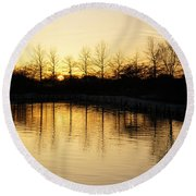 Golden And Peaceful - A Sunset On Lake Ontario In Toronto Canada Round Beach Towel