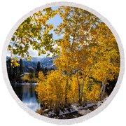 Golden Aspen On The Lake Round Beach Towel