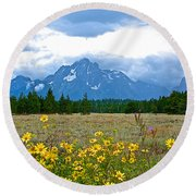 Golden Asters And Tetons From The Road In Grand Teton National Park-wyoming Round Beach Towel