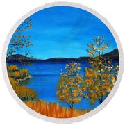 Golden Autumn Round Beach Towel