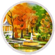 Golden Autumn Day 2 Round Beach Towel